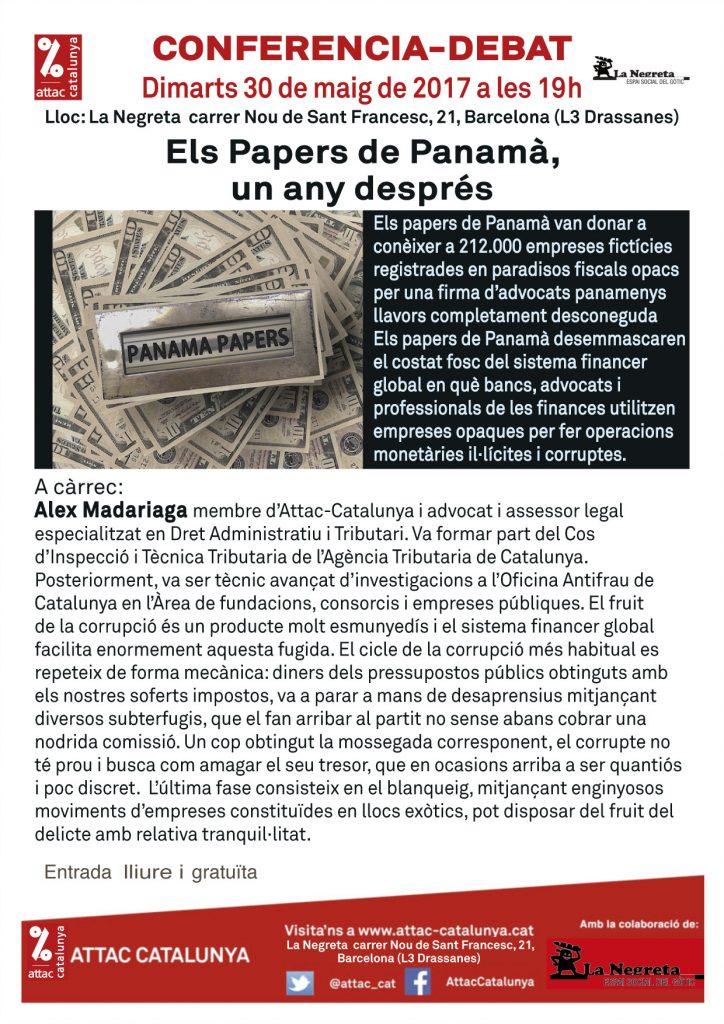 Els Papers de Panamà, un any després @ La Negreta, espai social del Gòtic | Barcelona | Catalunya | España